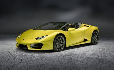 Lamborghini Huracan, yellow car side view