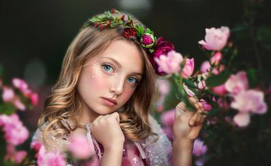 Flowers crown, cute, little girl