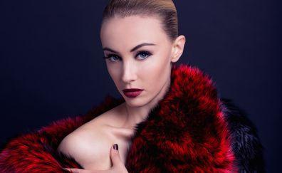 Sarah Gadon, makeup, blonde, lipstick
