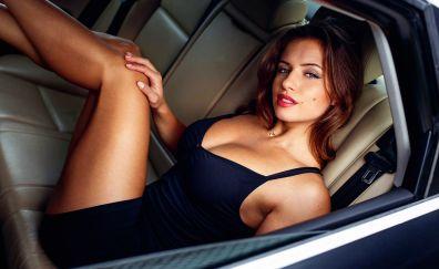 Izabela Zuković in car, brunette, model