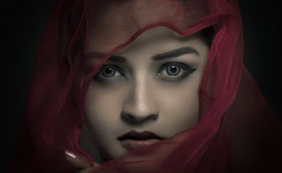 Red scarf, girl, model, face