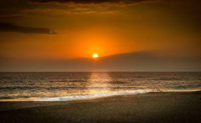 Sunset, nature, beach, sea waves, skyline, sun