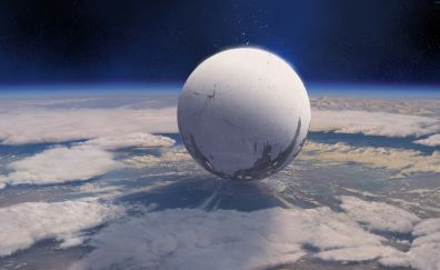 Destiny Online game, space, sphere planet, spaceship