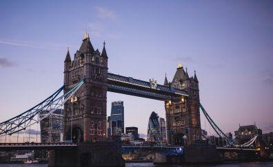 Tower Bridge, night, suspension bridge, London