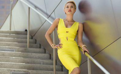 Nicky Whelan, yellow dress, hot