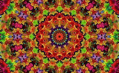 Fractal, mandala, flowers pattern, colorful