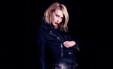 Sarah Gadon, actress, blonde, jeans jacket
