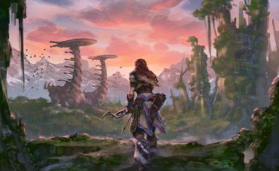 Aloy, Horizon zero dawn game, warrior, art