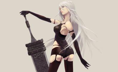 Yorha A2, Nier: Automata, video game, girl warrior