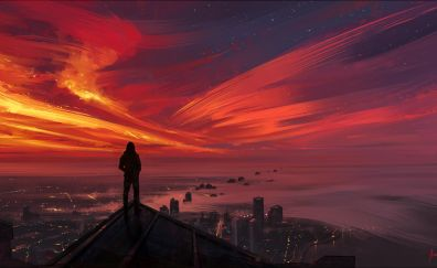 Sunset city illustration