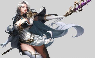 White hair fantasy girl