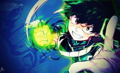 Izuku Midoriya, Boku no hero academia, anime boy, punch