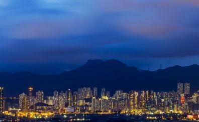 Cityscape mountains
