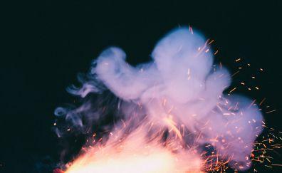Smoke, sparks, dark