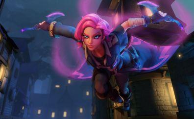 Paladins video game, girl warrior, jump
