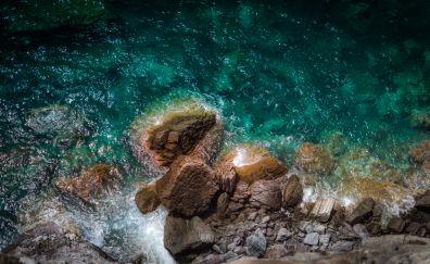 Coast ocean, rocks, sea water
