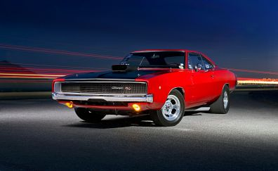 Classic muscle car, red Dodge Charger