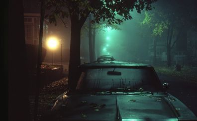 Cars parking on road in night