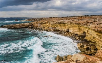 Cyprus cliff, coast waves