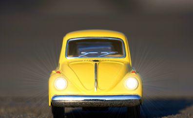 Volkswagen Beetle, yellow toy Car