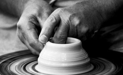 Potter, hands, art, monochrome