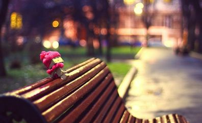 Danbo paper toy and bench