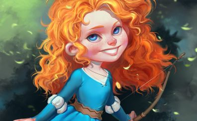 Small Red head girl, brave animation movie, art