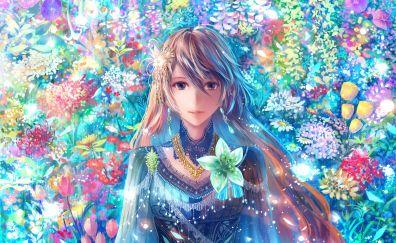 Beautiful girl art, fantasy, flowers