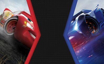Cars 3, movie, Lightning McQueen vs Jackson Storm, 4k, 8k