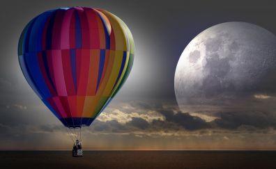 Hot air balloon, moon, clouds