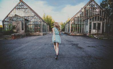 Road, girl, run, house