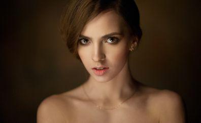 Victoria Lukina, model, brunette, bare shoulder