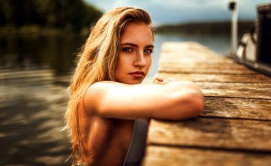 Blonde model, swim, dock