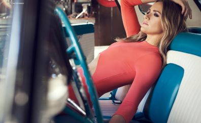 Shantel VanSanten, red dress, car, model