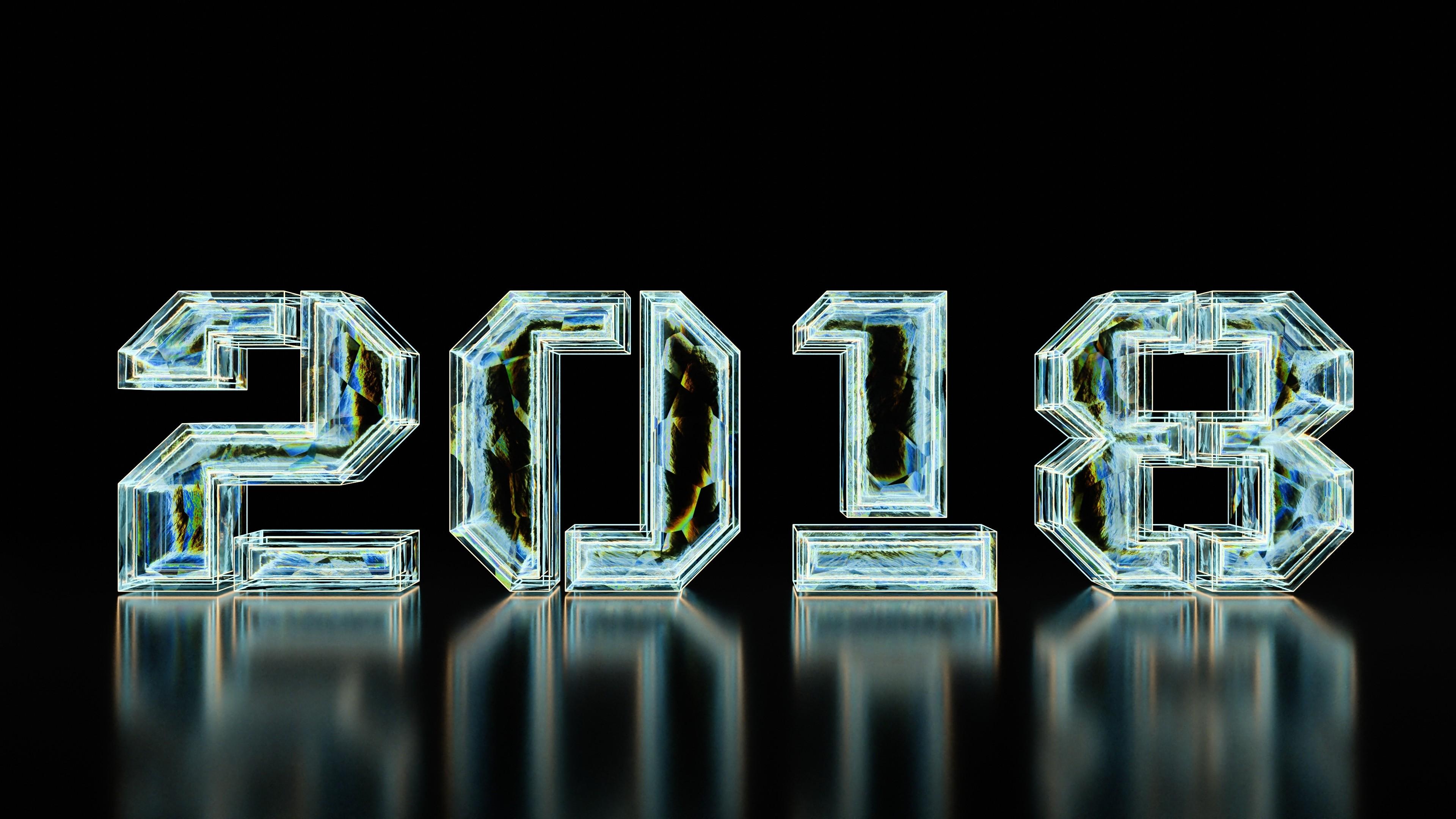 New year, 2018, typography, digital art
