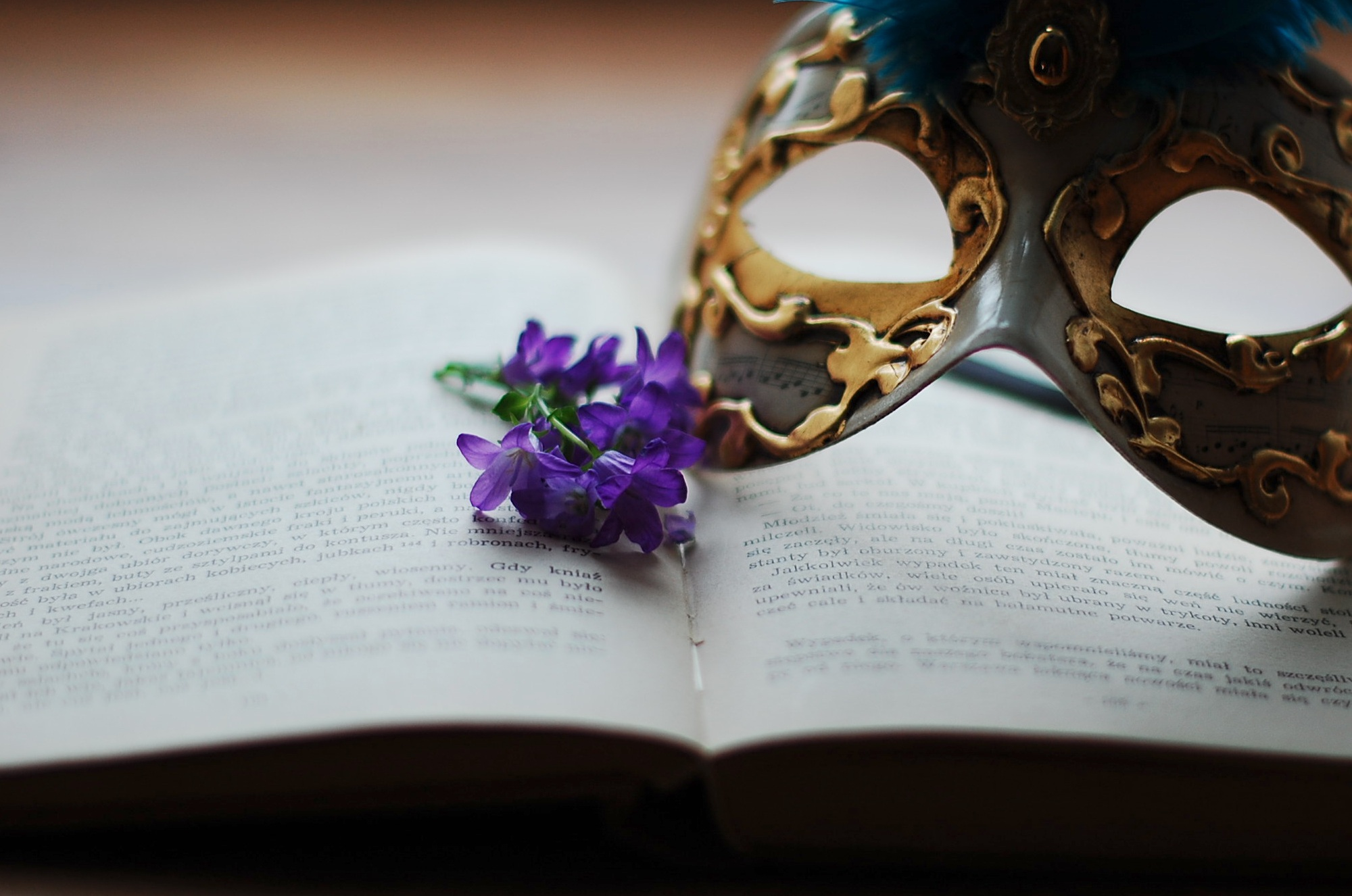 Book, flowers, mask
