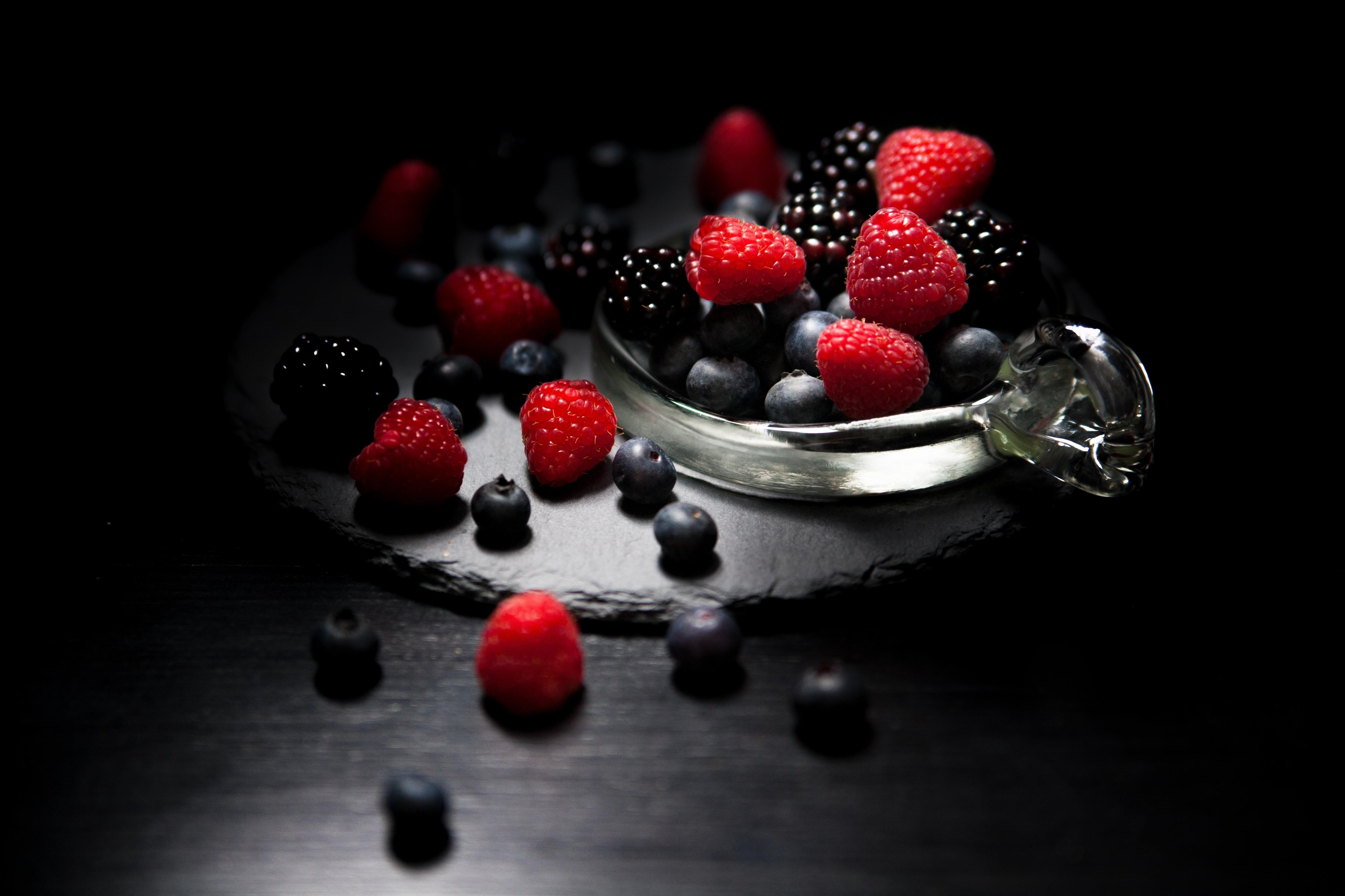 Dark mood, food, fruits, blueberry, raspberry, blackberry, 4k